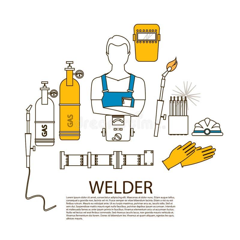 Ferramentas da soldadura do soldador e silhueta profissionais do equipamento ilustração do vetor