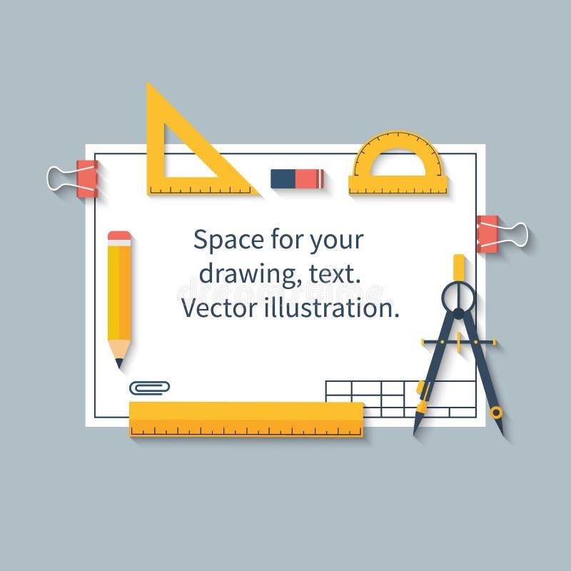 Ferramentas de desenho no papel com espaço para desenhos e texto Régua, ilustração do vetor