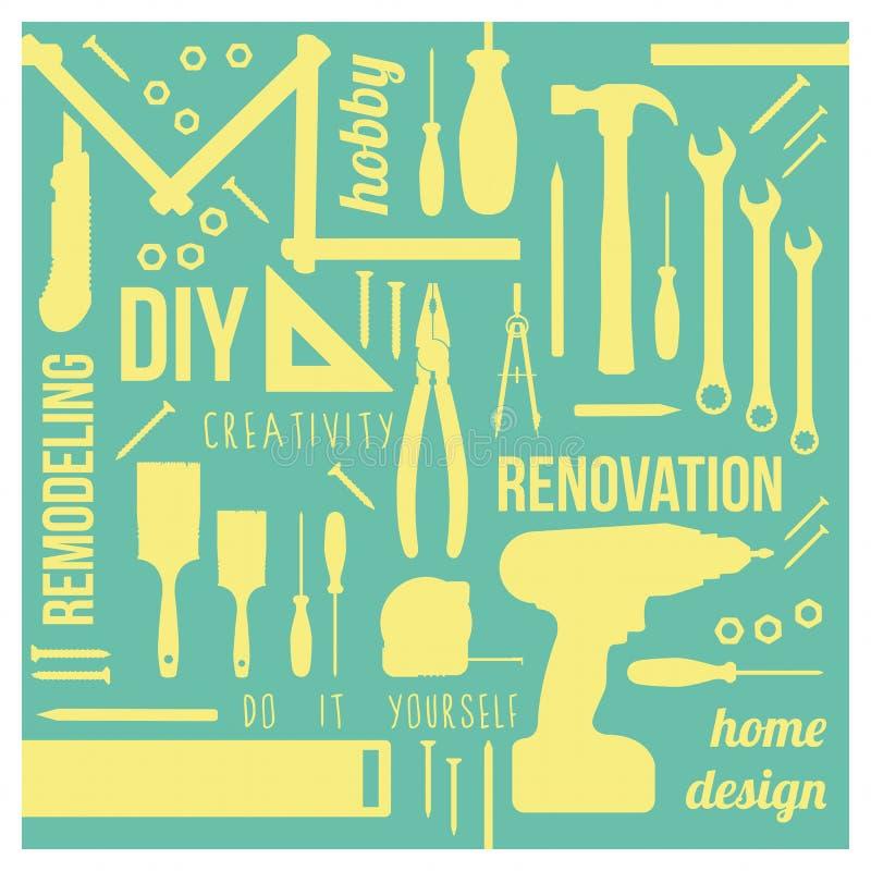 Ferramentas de DIY com conceitos ilustração do vetor
