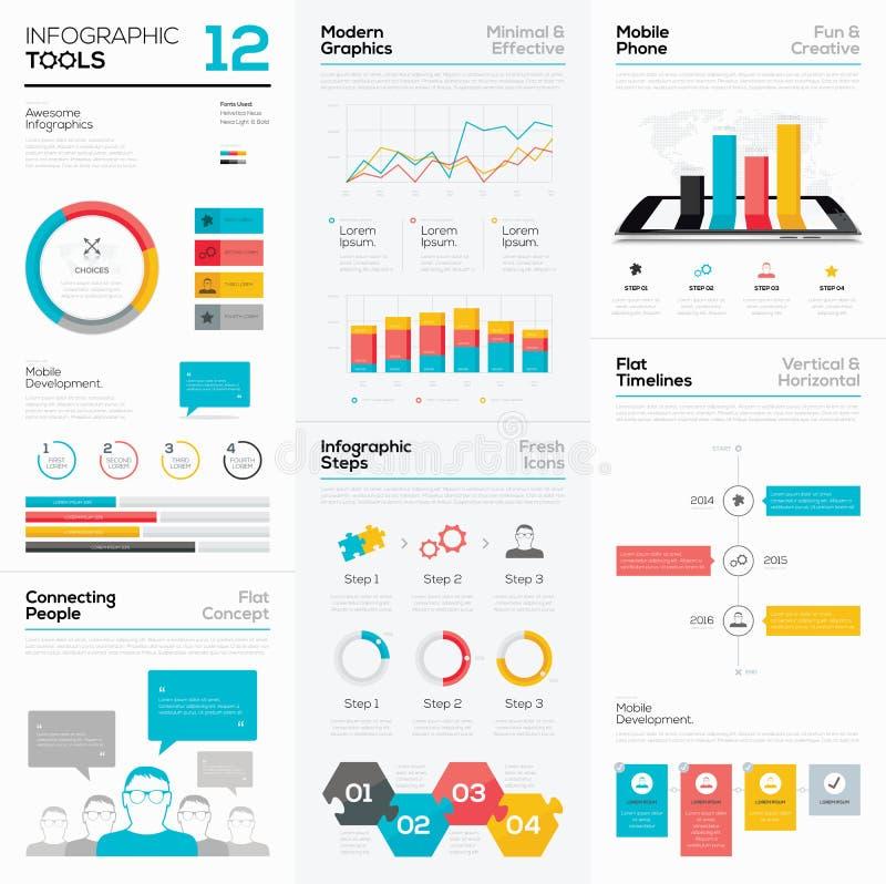Ferramentas de Infographic e elementos dos gráficos de vetor do negócio ilustração do vetor