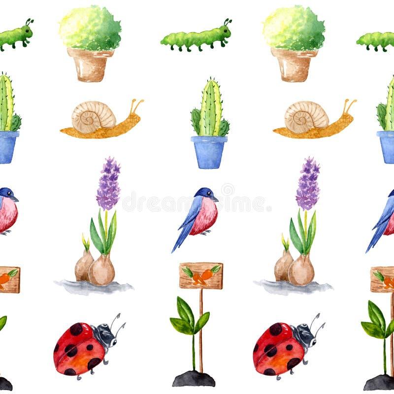 Ferramentas de jardim da aquarela A colagem da composição das plantas, pássaros e flores, aperfeiçoa para convites do casamento d ilustração do vetor