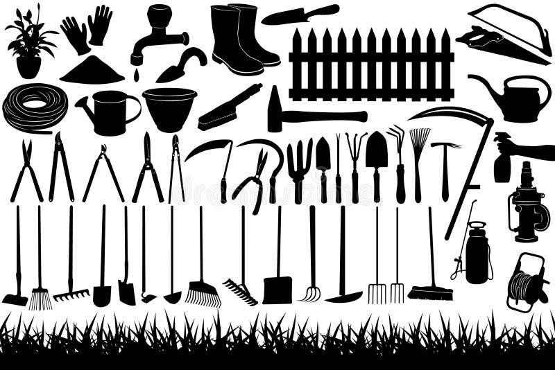 Ferramentas de jardinagem ilustração stock