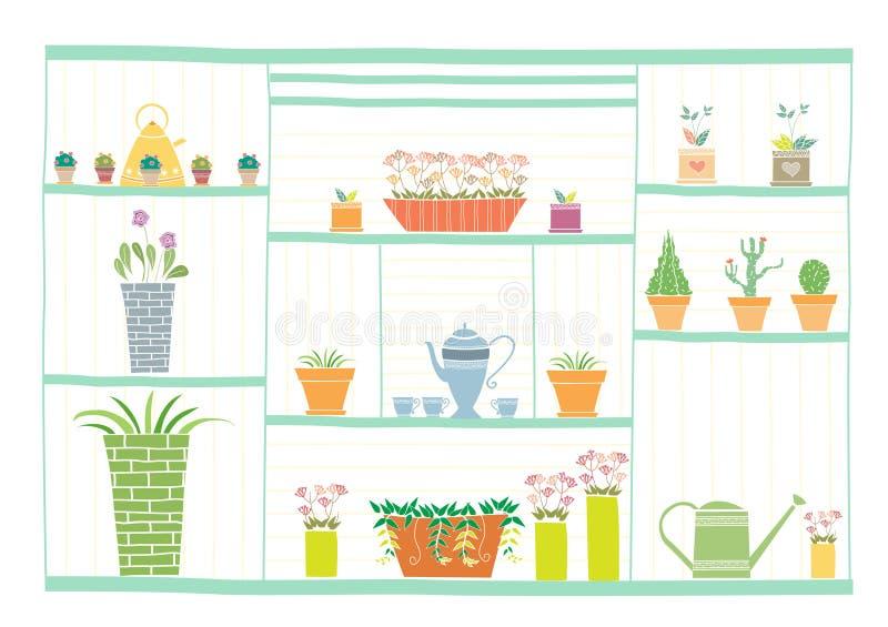 Ferramentas de jardinagem e flores na prateleira de madeira, ilustrações do vetor ilustração do vetor