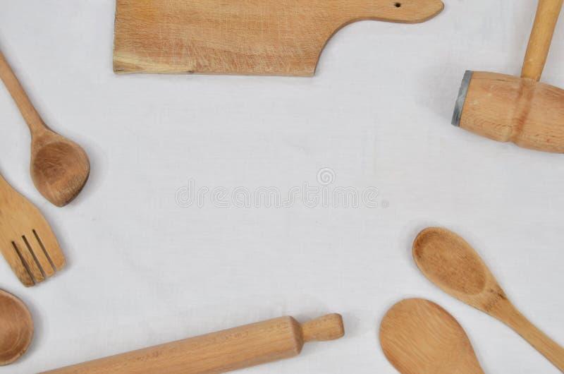 Ferramentas de madeira da cozinha fotografia de stock