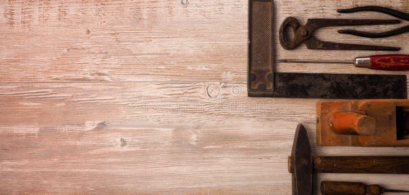 Ferramentas de madeira do trabalhador foto de stock royalty free