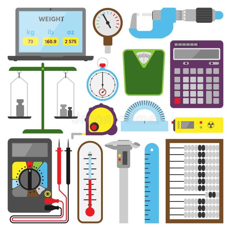 Ferramentas de medição do mecanismo e equipamento de construção eletrônico dos testes da engenharia da ilustração dos dispositivo ilustração stock