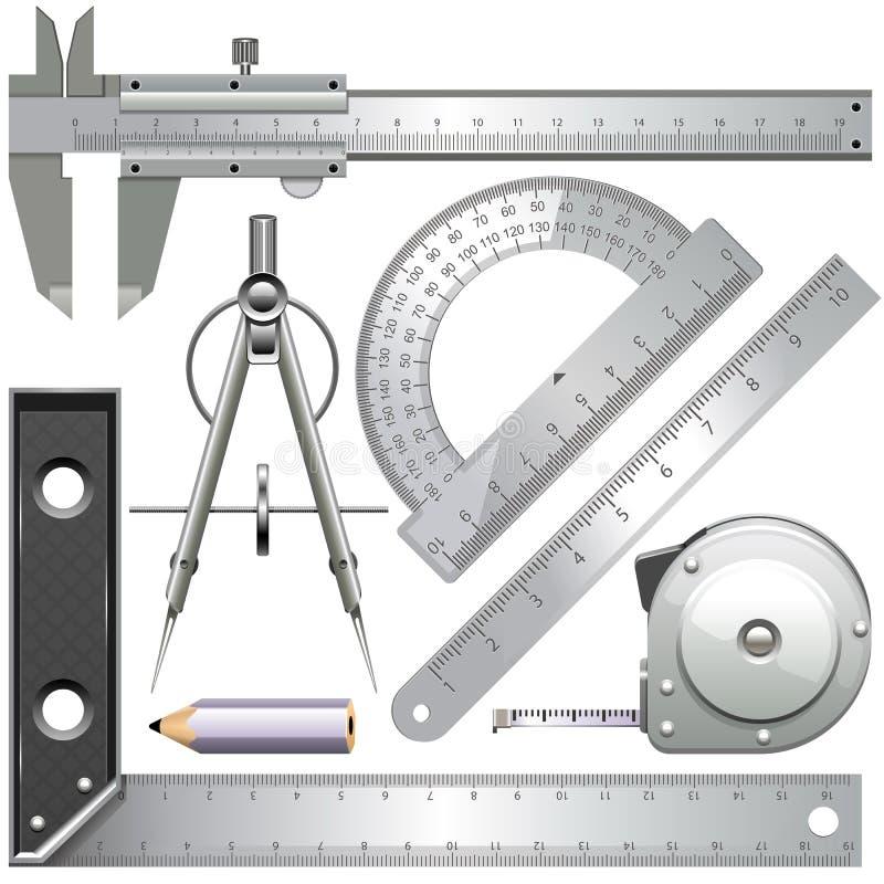 Ferramentas de medição do vetor ilustração do vetor