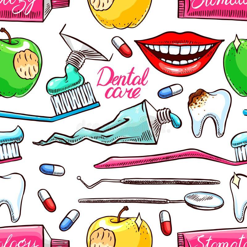 Ferramentas dentais coloridas sem emenda ilustração do vetor