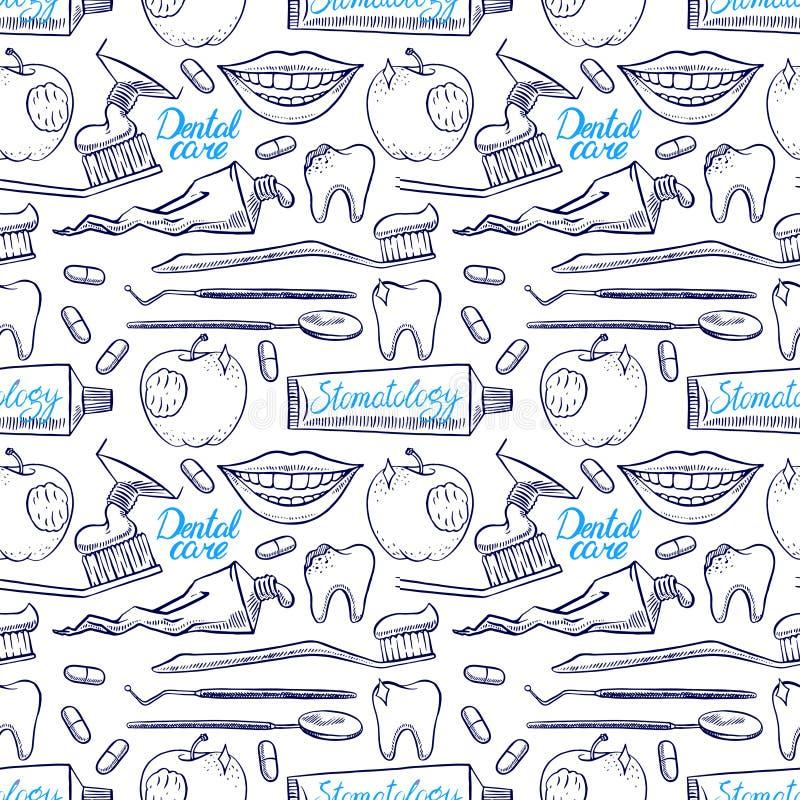 Ferramentas dentais sem emenda ilustração stock