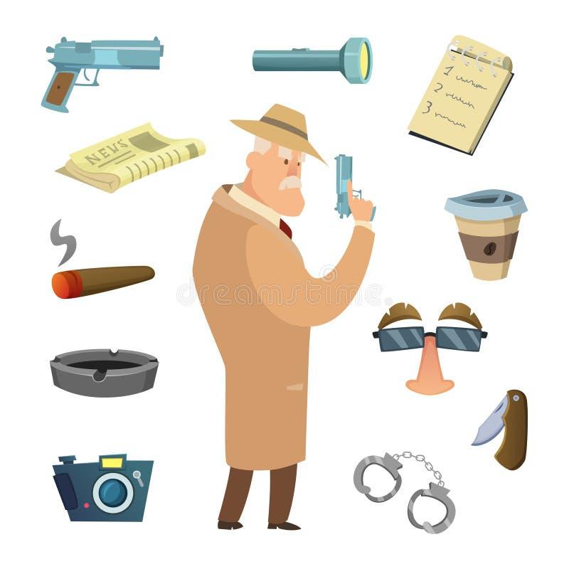 Ferramentas diferentes para o detetive Ícones do vetor no estilo dos desenhos animados ilustração stock