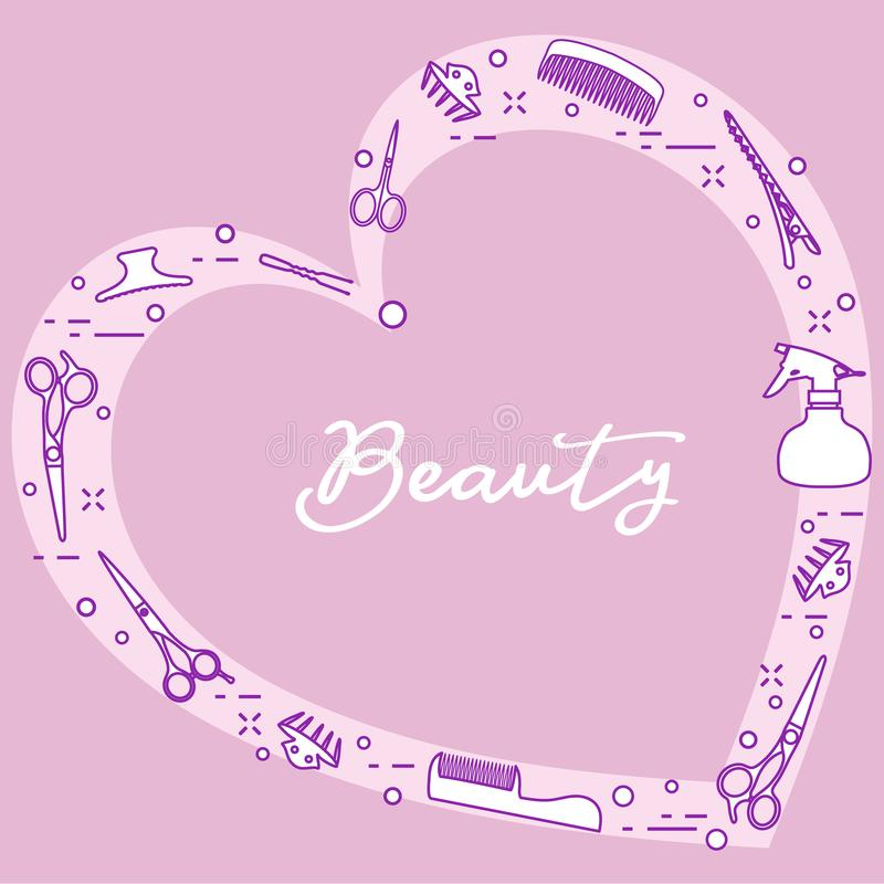 Ferramentas do cabeleireiro Salão de beleza de beleza manicure ilustração royalty free