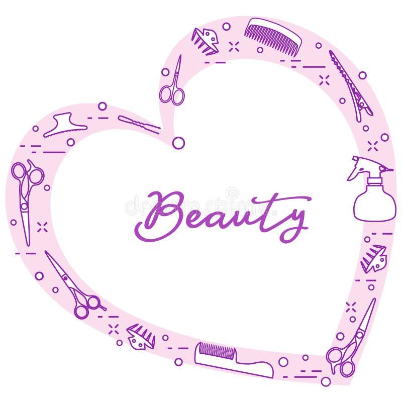 Ferramentas do cabeleireiro Salão de beleza de beleza manicure ilustração stock
