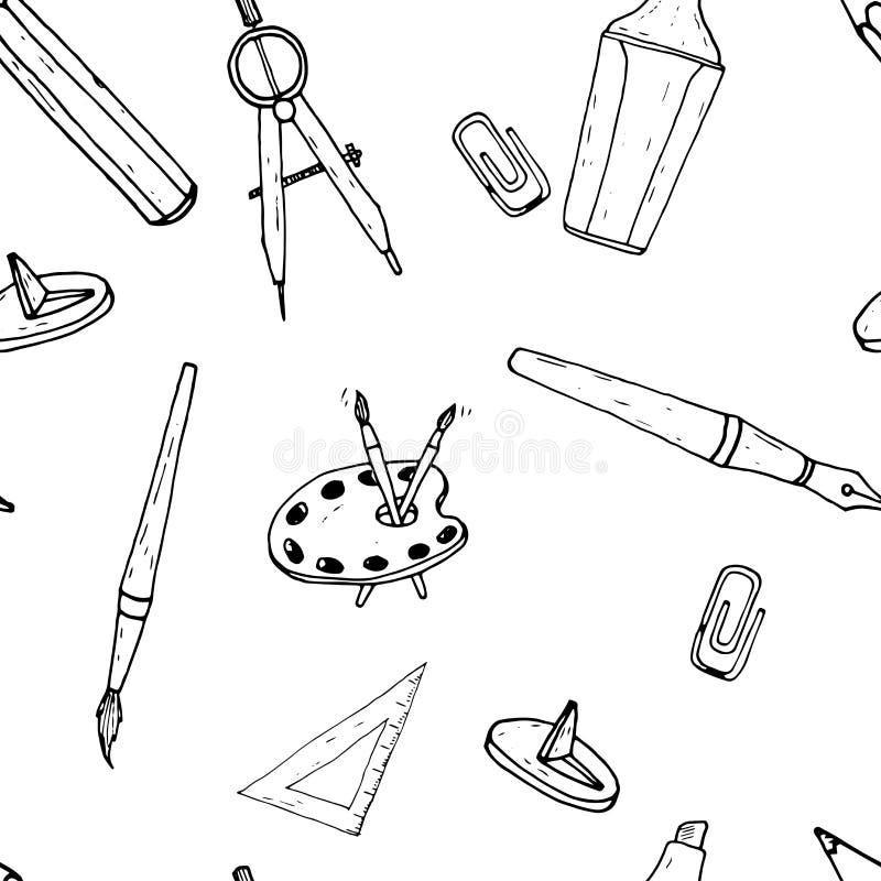 Ferramentas do desenho e da pintura Teste padrão sem emenda Esboço desenhado mão ilustração stock