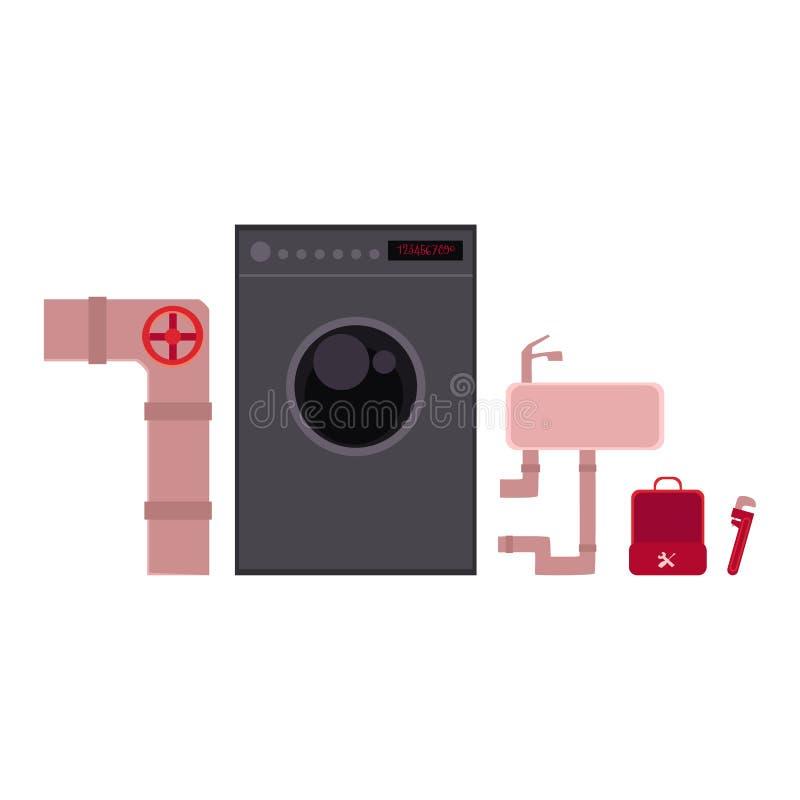 Ferramentas do encanador e objetos - tubulação de esgoto, bacia de lavagem, máquina de lavar ilustração stock