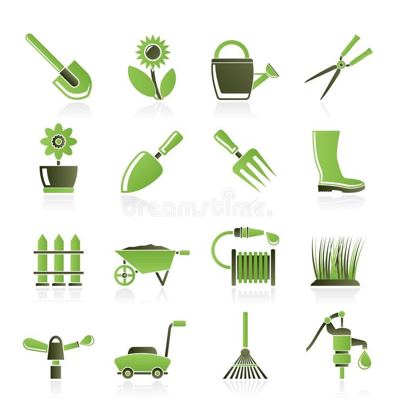 Ferramentas do jardim e de jardinagem e ícones dos objetos ilustração stock