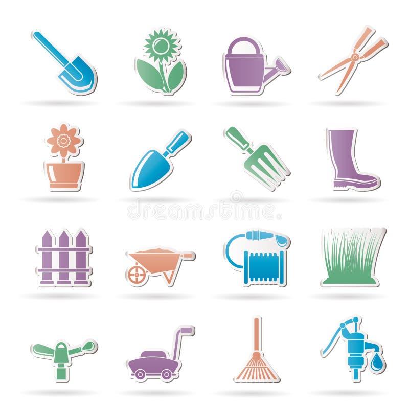 Ferramentas do jardim e de jardinagem e ícones dos objetos ilustração royalty free