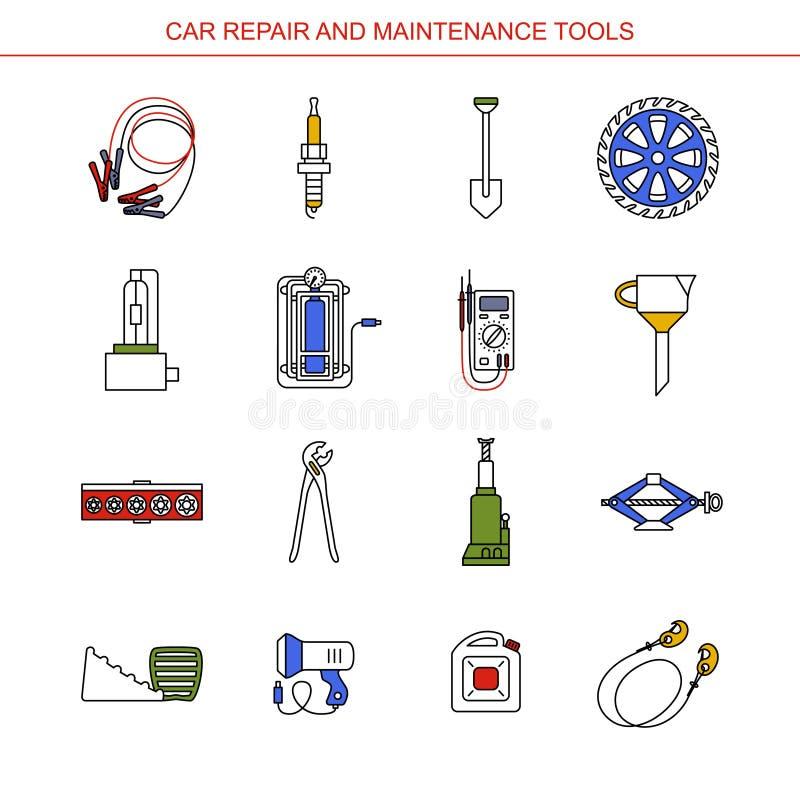 Ferramentas do reparo e da manutenção do carro ilustração stock