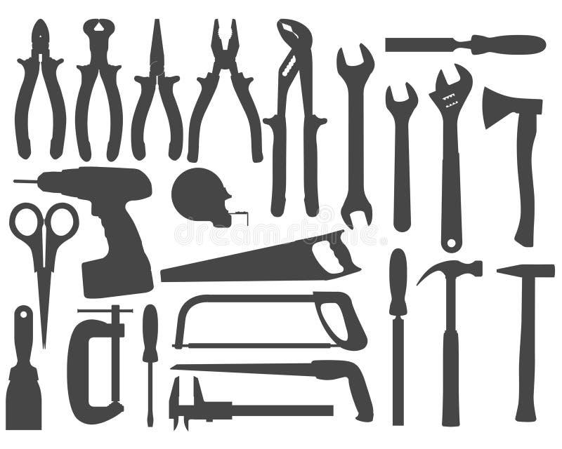 Ferramentas do trabalho de mão ilustração stock