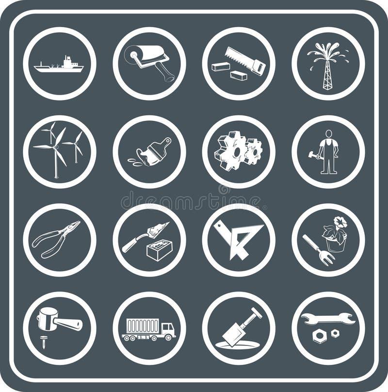 Ferramentas e ícones da indústria ilustração royalty free