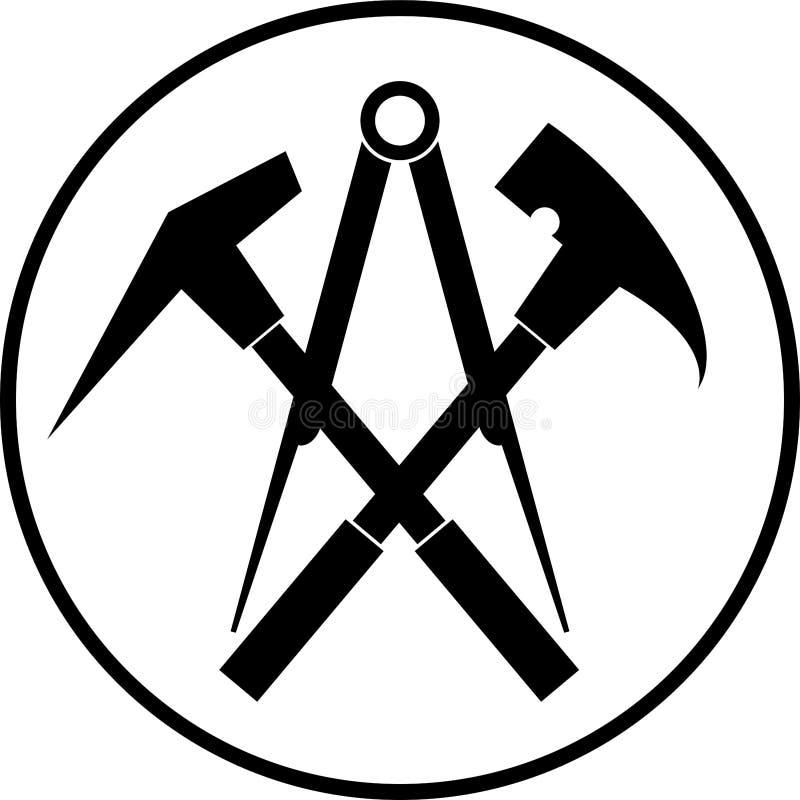 Ferramentas e círculo do telhado, ferramentas e logotipo do roofer ilustração stock