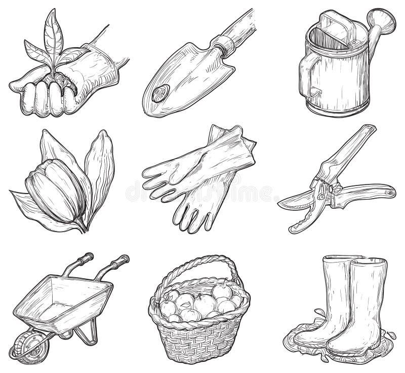 Ferramentas e coisas de jardim ilustração stock