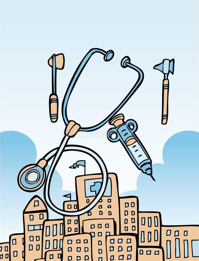 Ferramentas e edifício médicos ilustração stock