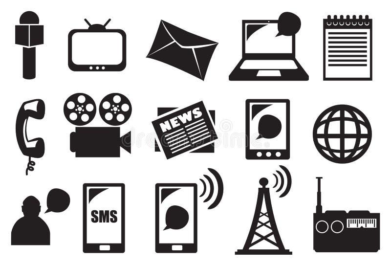 Ferramentas e equipamento para o grupo do ícone do vetor dos meios e da comunicação ilustração do vetor