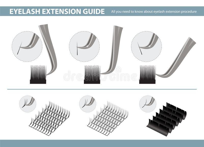 Ferramentas e fontes da aplicação da extensão da pestana Como usar a pinça na extensão da pestana Ilustração do vetor molde ilustração do vetor