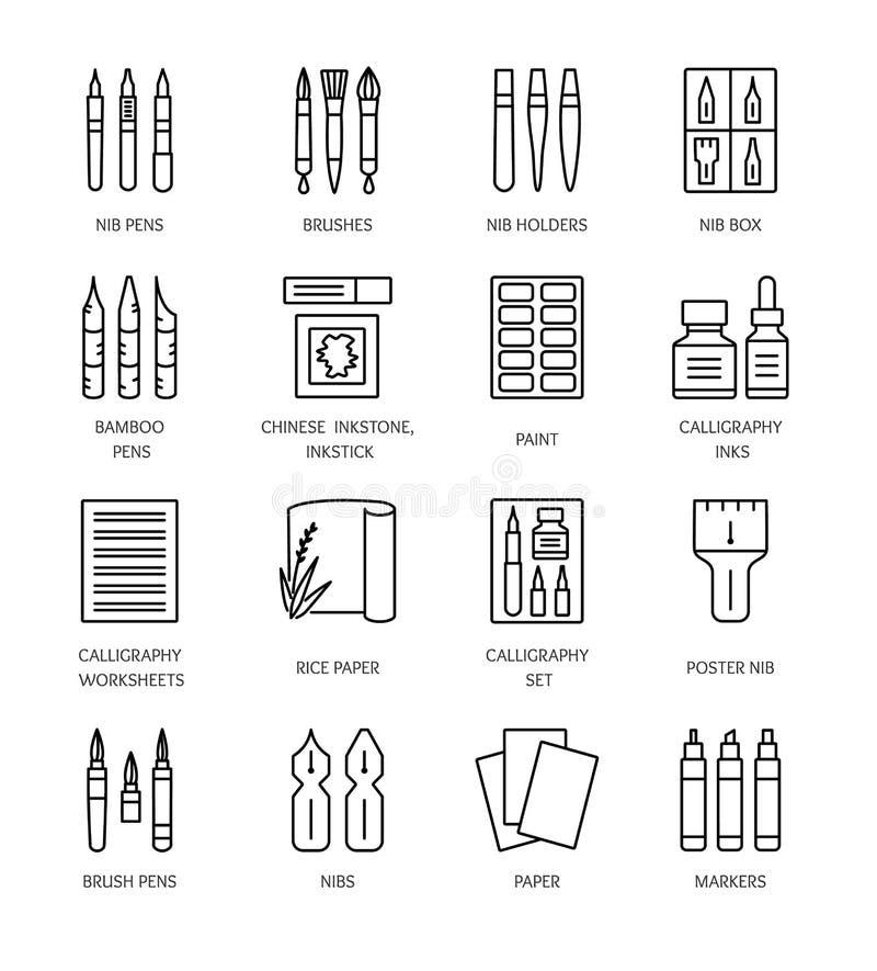Ferramentas e materiais da caligrafia Linha ícones do vetor ilustração royalty free