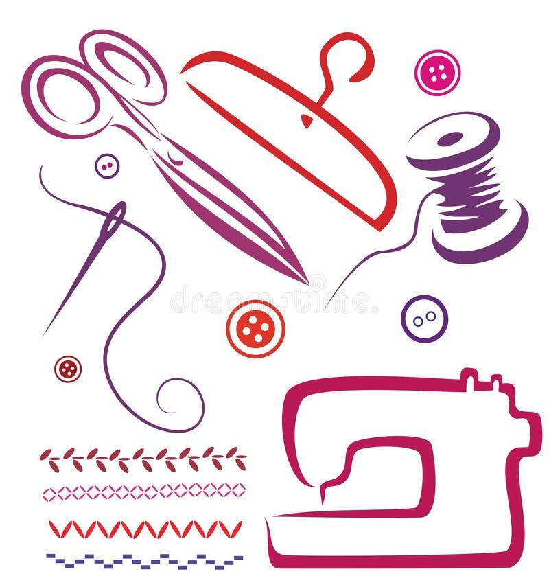 Ferramentas e objetos Sewing ajustados ilustração royalty free