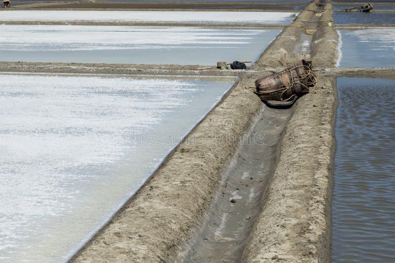 Ferramentas e sacos de vime tecidos deixados em pântanos de sal vazios na tarde em Gio da lata, Vietname imagens de stock