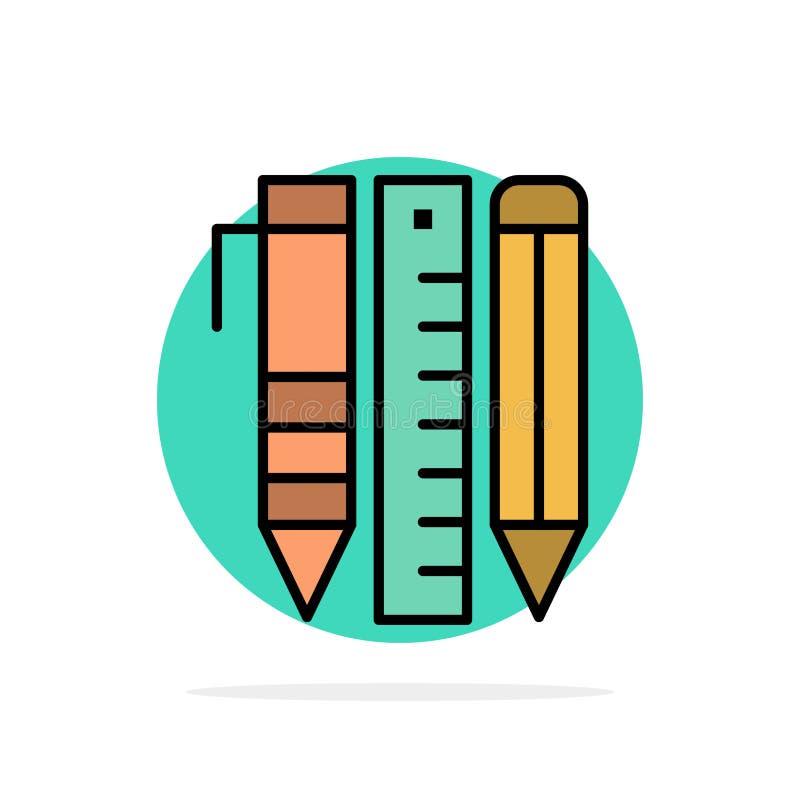 Ferramentas, ferramentas essenciais, estacionárias, artigos, ícone da cor de Pen Abstract Circle Background Flat ilustração royalty free