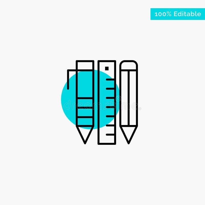 Ferramentas, ferramentas essenciais, estacionárias, artigos, ícone do vetor do ponto do círculo do destaque de turquesa da pena ilustração do vetor