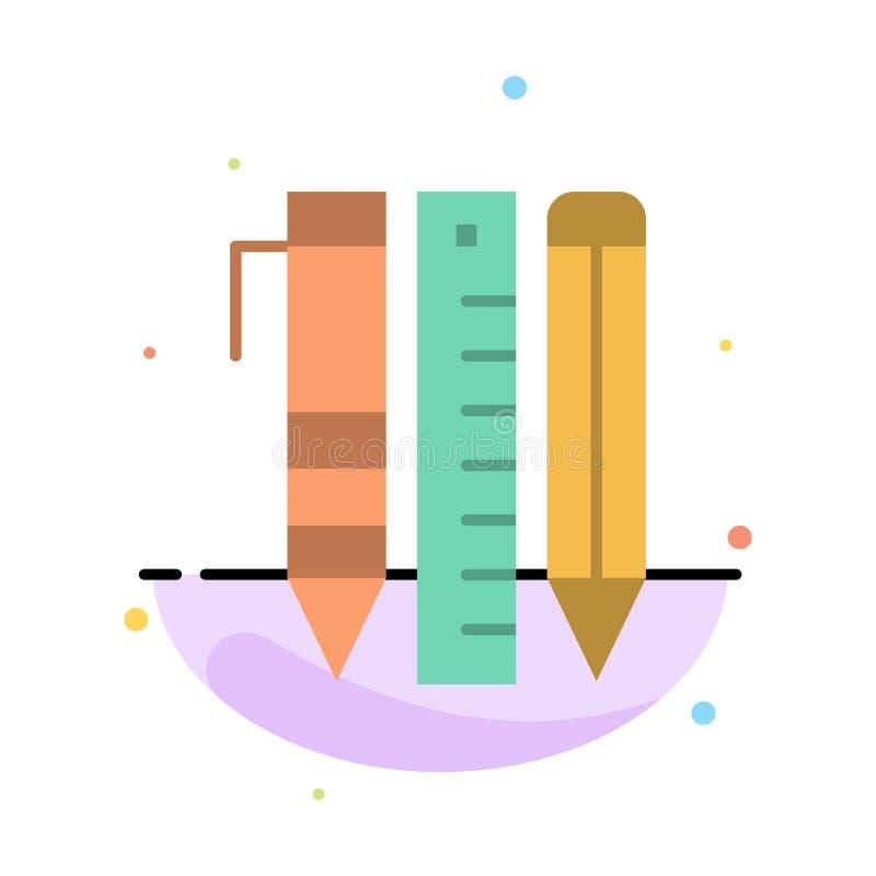 Ferramentas, ferramentas essenciais, estacionárias, artigos, molde de Pen Abstract Flat Color Icon ilustração do vetor