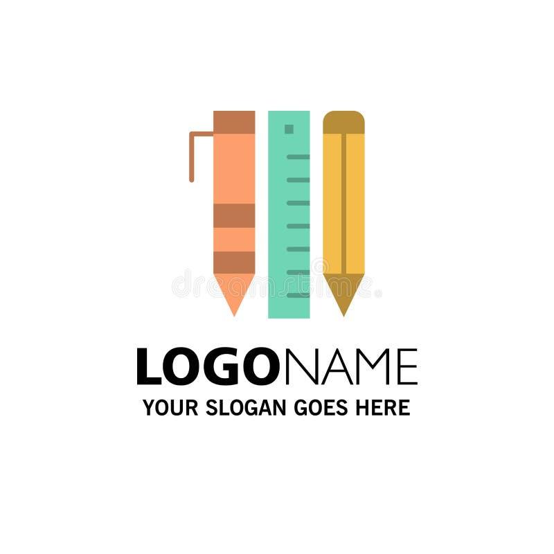 Ferramentas, ferramentas essenciais, estacionárias, artigos, Pen Business Logo Template cor lisa ilustração stock