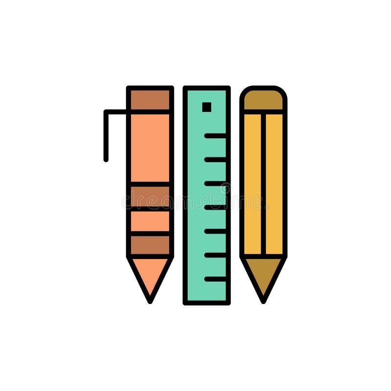Ferramentas, ferramentas essenciais, estacionárias, artigos, Pen Flat Color Icon Molde da bandeira do ícone do vetor ilustração do vetor