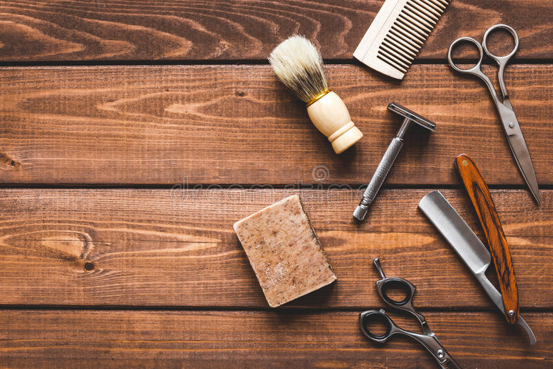 Ferramentas para cortar a opinião superior do barbeiro da barba imagem de stock royalty free