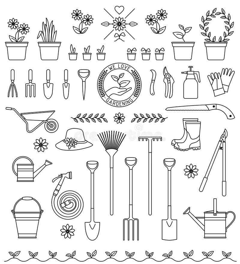 Ferramentas para jardinar ilustração do vetor
