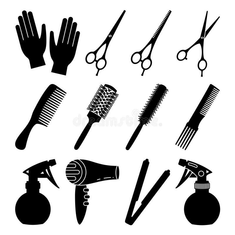 12 ferramentas preto e branco do cabeleireiro ilustração royalty free