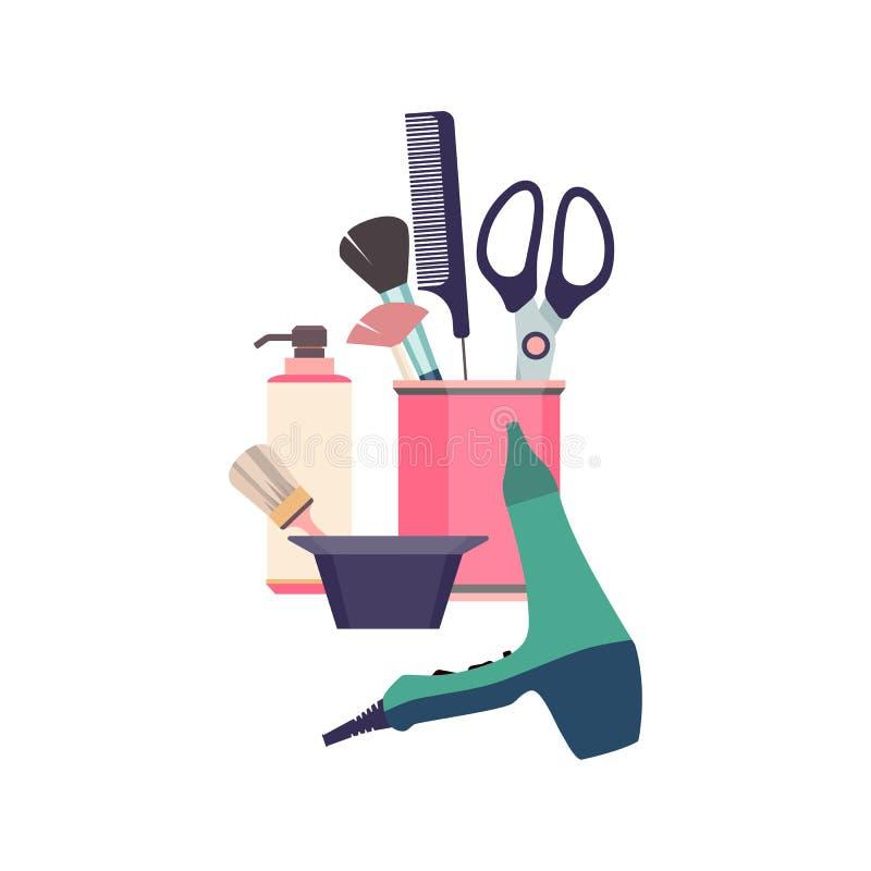 Ferramentas profissionais do cabeleireiro Objetos da forma do barbeiro ajustados Salão de beleza do projeto dos ícones do corte d ilustração royalty free