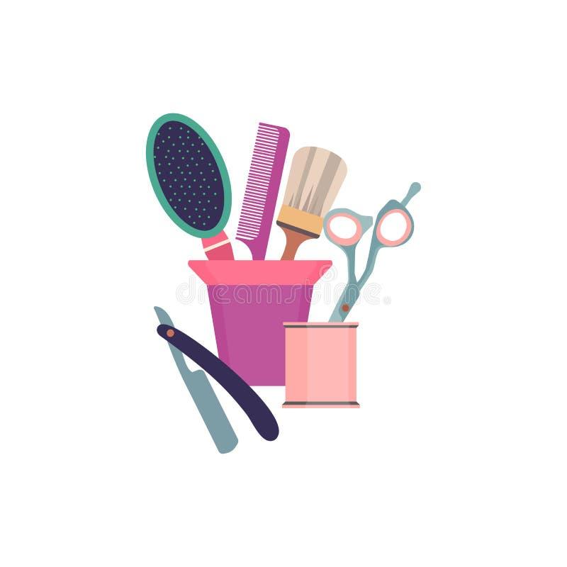 Ferramentas profissionais do cabeleireiro Objetos da forma do barbeiro ajustados Salão de beleza do projeto dos ícones do corte d ilustração do vetor