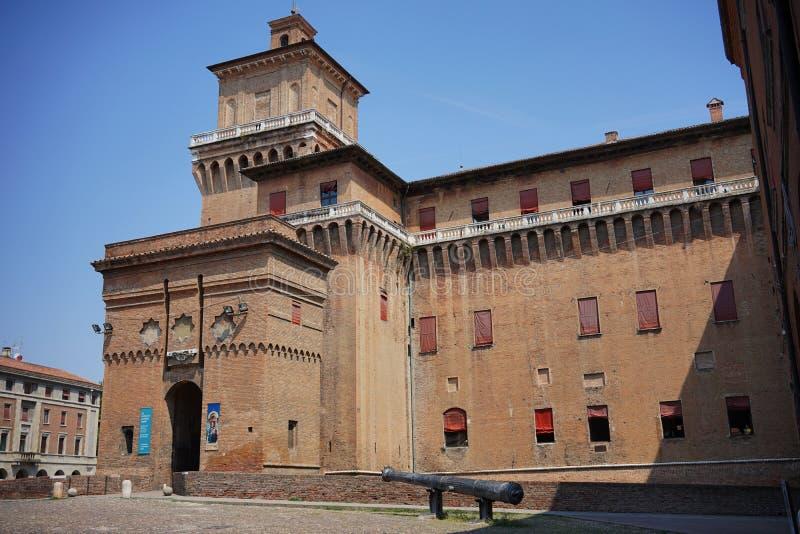 Ferrara, eine Ansicht des Stadt ` s Schlosses stockfotografie