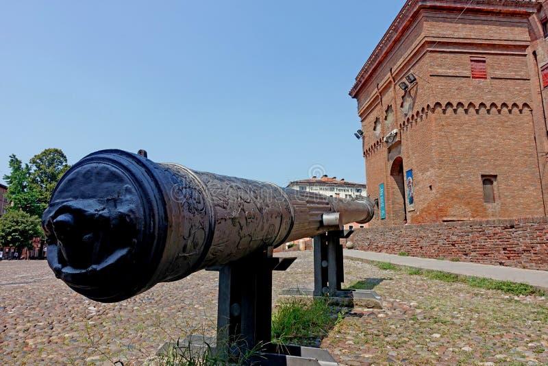 Ferrara, eine Ansicht des Stadt ` s Schlosses lizenzfreie stockfotos