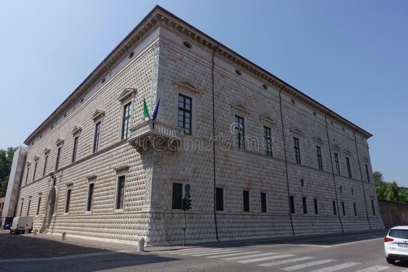 Ferrara palazzo dei diamanti. Ferrara Italy The splendid Palazzo dei Diamanti in Ferrara is located at the center of the Addizione Erculea, on the important royalty free stock image