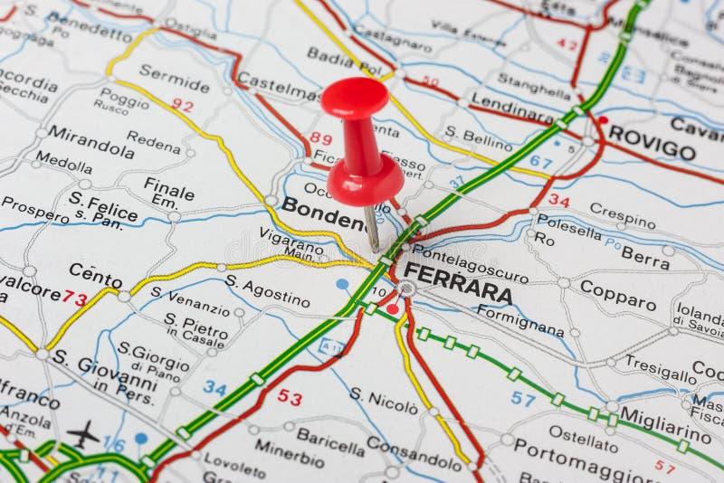 Ferrara przyczepiał na mapie Włochy obrazy royalty free