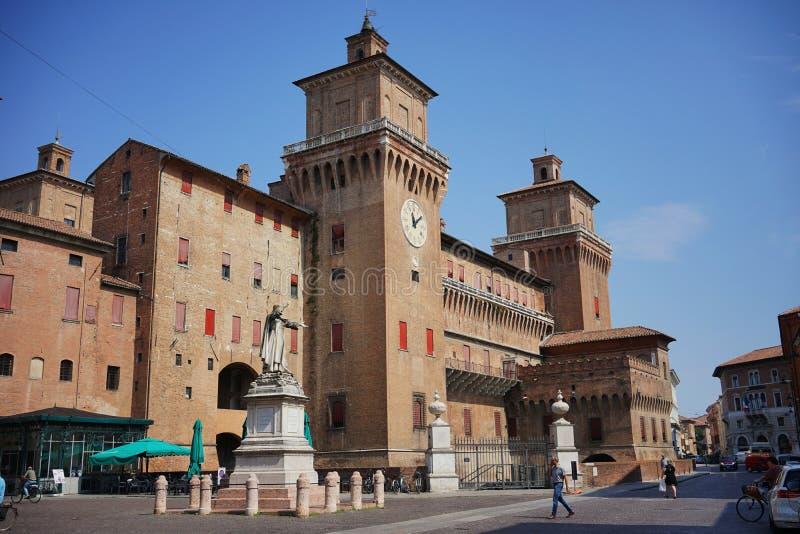 Ferrara, widok miasta ` s kasztel zdjęcie royalty free