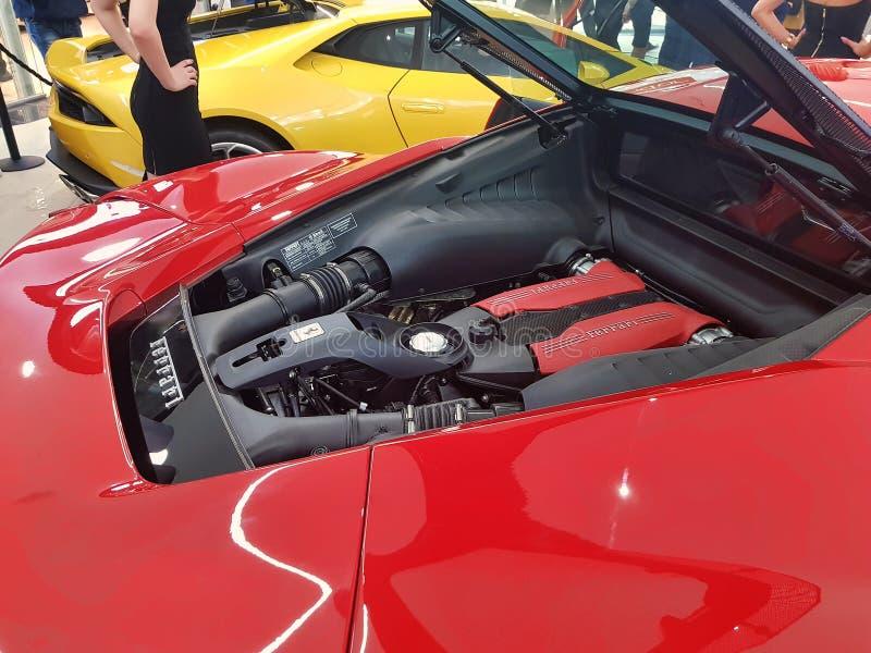 Ferrari 488 μηχανή στοκ εικόνα