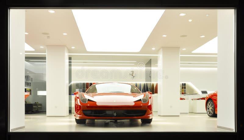 A Ferrari 458 Italia in a showroom