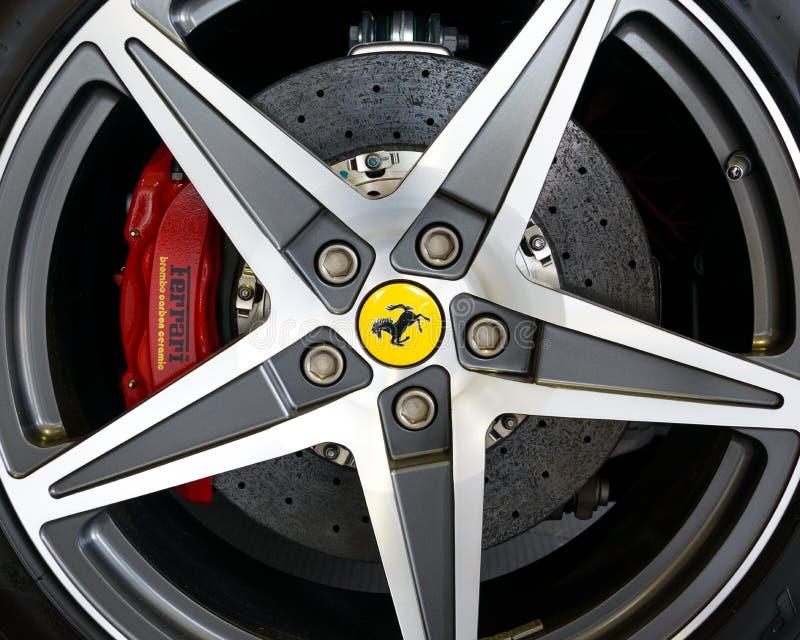 Ferrari California alloy and carbon brake royalty free stock photography