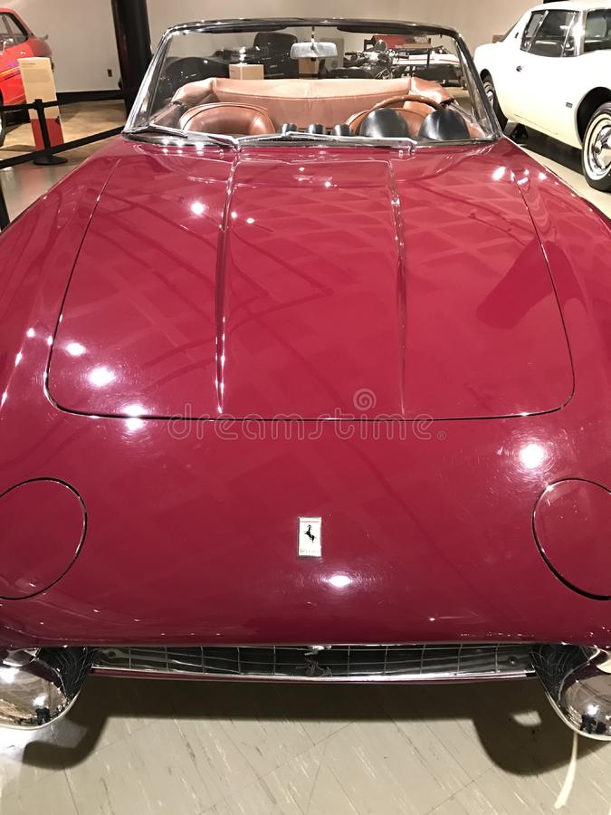 1967 Ferrari 365 California Spyder in sparkling red. The 365 California Spyder was built as a successor to the 500 Superfast and was sold primarily to Ferrari stock photo